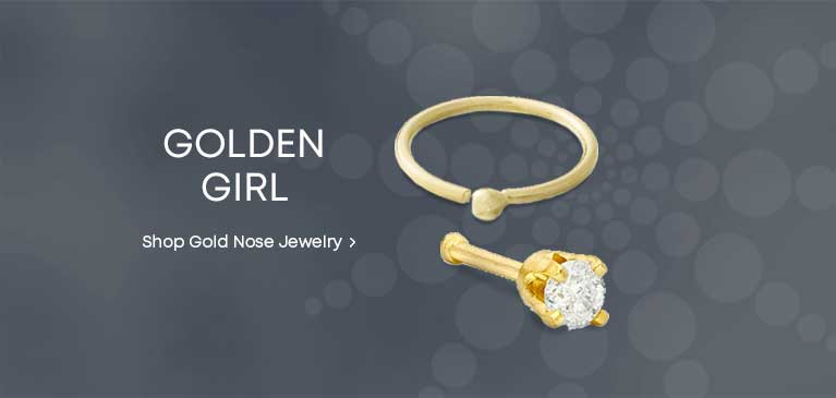 e2d16caa9 Golden Girl. Gold nose jewelry in a variety of styles. Shop Gold Nose  Jewelry